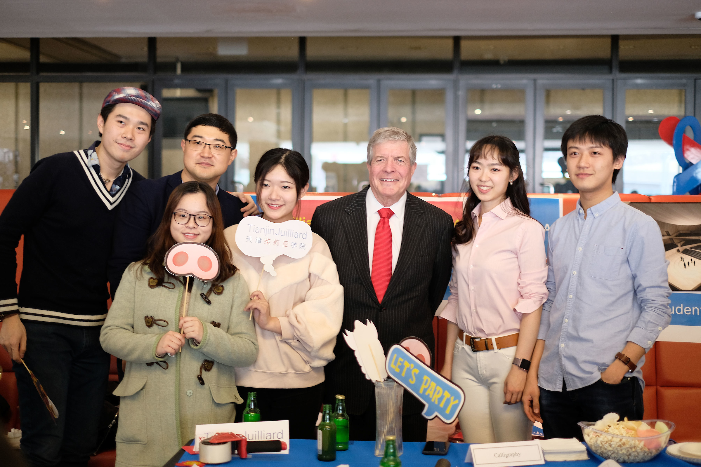 Juilliard students with Dr. Joseph W. Polisi at the 2019 Lunar New Year Celebration on campus in New York. Photo credit: Rachel Papo
