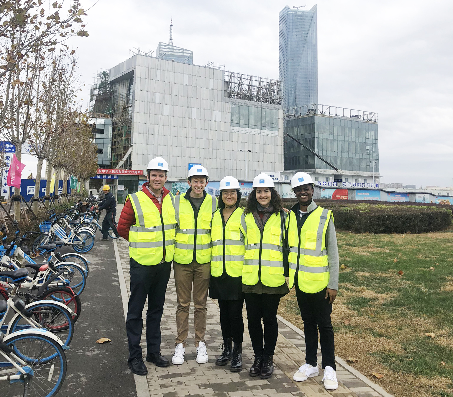 A construction tour of The Tianjin Juilliard School building with Dean Meyer and Juilliard students.  Photo credit: Bethany Marshall