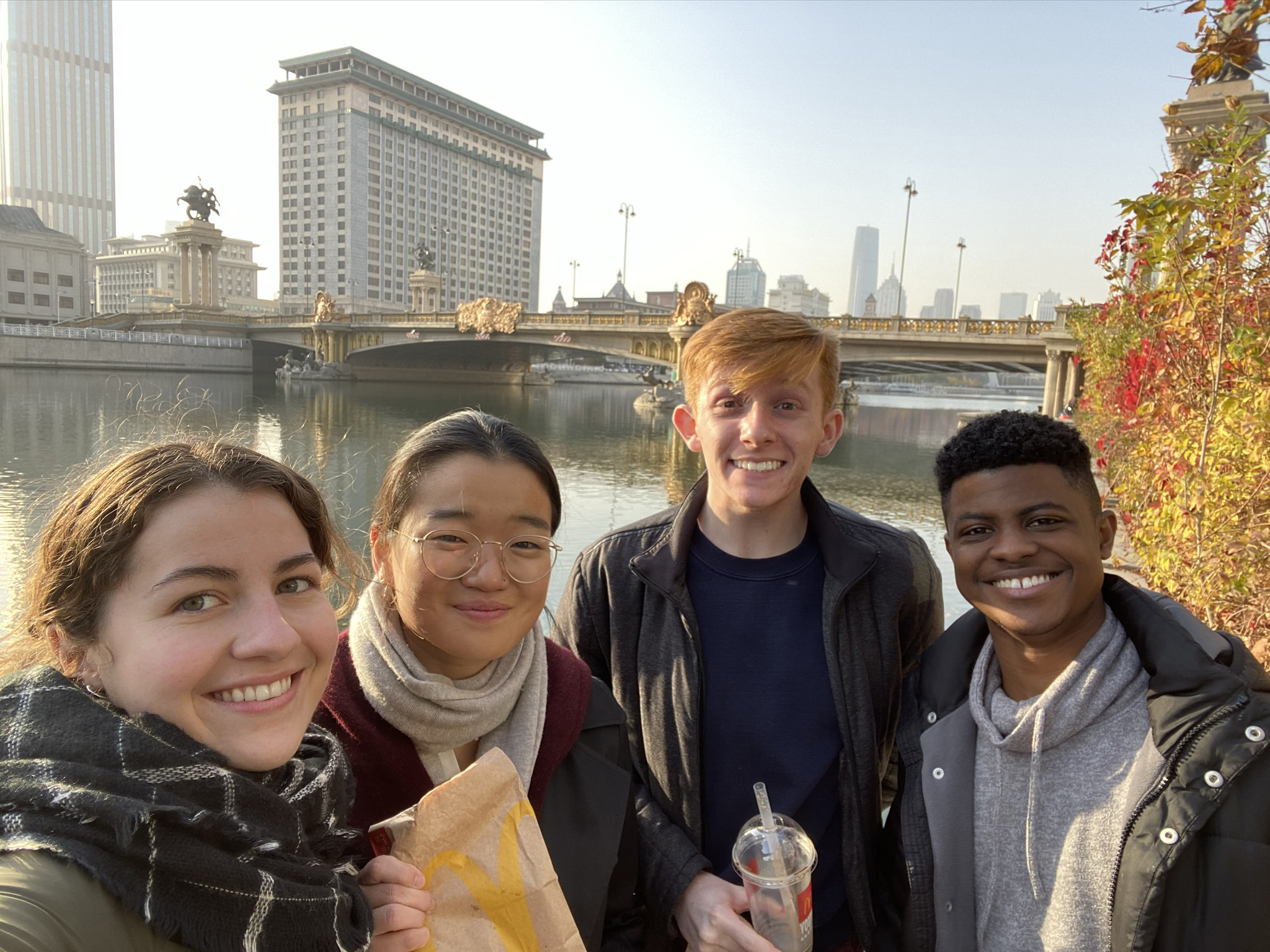 Enjoying McDonald's by the Hai river in Tianjin. Photo credit: Rannveig Sarc